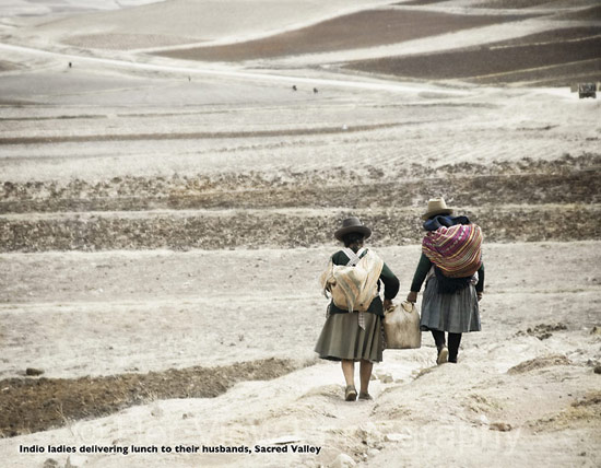 Photo Andean ladies carrying lunch to their husbands
