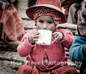 peru children drinking hot chocolate