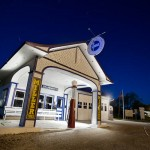 night photography workshop image of Odell Gas Station