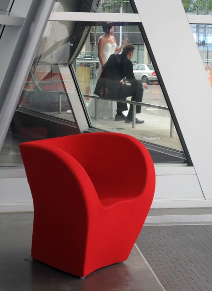 Student image of a red chair during an edmonton photo walk