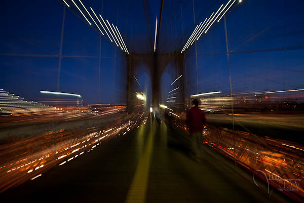Night photography special effects Brooklyn Bridge NYC