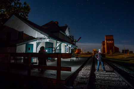 Rowley Alberta railway station at night