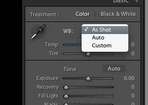Limited White Balance settings when working with JPGs