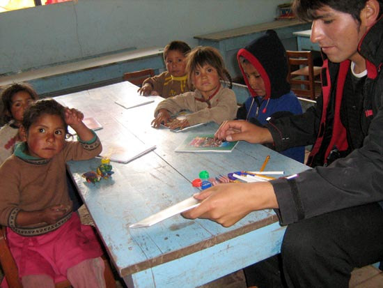 Kids in Peruvian village school